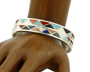 Zuni Signed Anita Banteah Inlaid Multiple Gemstone .925 Cuff Bracelet
