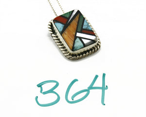 C.80-90's Navajo Doug Zachary Inlaid Natural Gemstone .925 Silver Necklace