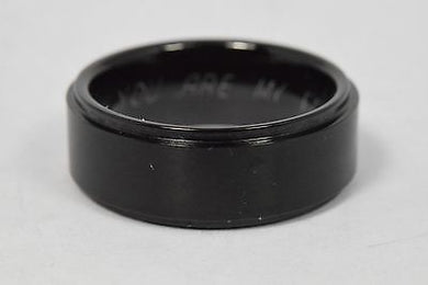 Black Tungsten 8mm Wedding Band With You Are My Forever Engraved Inside 14.4G