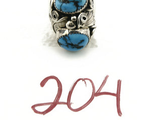 Zuni Ring .925 SOLID Silver Sleeping Beauty Turquoise Signed BC C.1980's