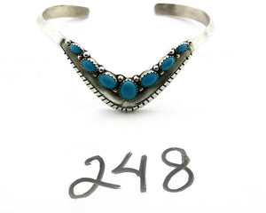 Navajo Bracelet .925 SOLID Silver Signed Turquoise Signed Artist Bea Tom C.90's
