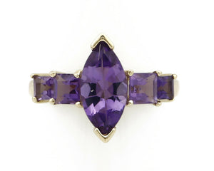 Women's Amethyst Ring 10k SOLID Yellow Gold 2.5 tcw