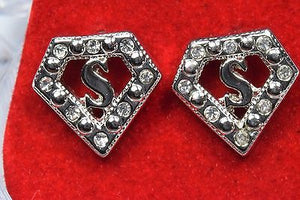 New 14k Gold Plated Iced Out Superman CZ Hip Hop Stud Earrings