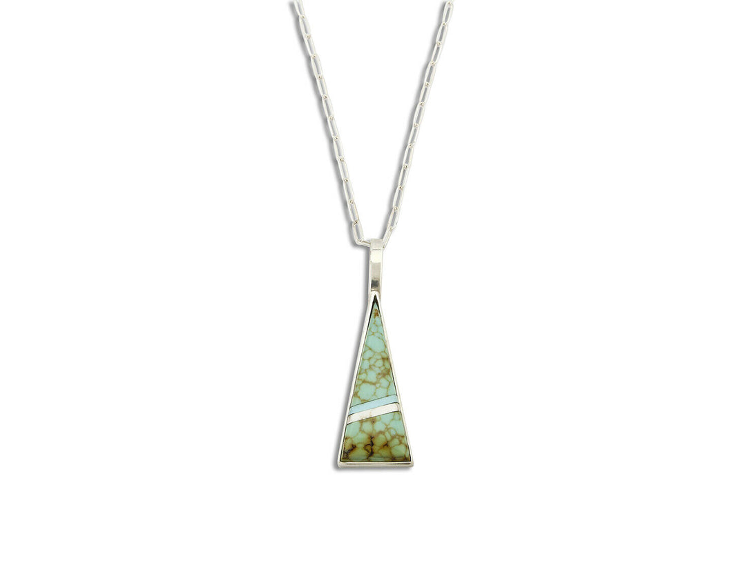Women's Turquoise Pendant .925 Silver Gemstone Inlaid Necklace