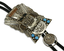 Navajo Bolo Tie .925 Silver Turquoise Artist Signed Yazzie Circa 1980's