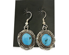C.80-90's Navajo Handmade Hand Stamped .925 Silver Turquoise Dangle Earrings