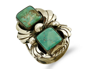 Navajo Turquoise Ring .925 Silver Turquoise Handmade Signed Billie Eagle