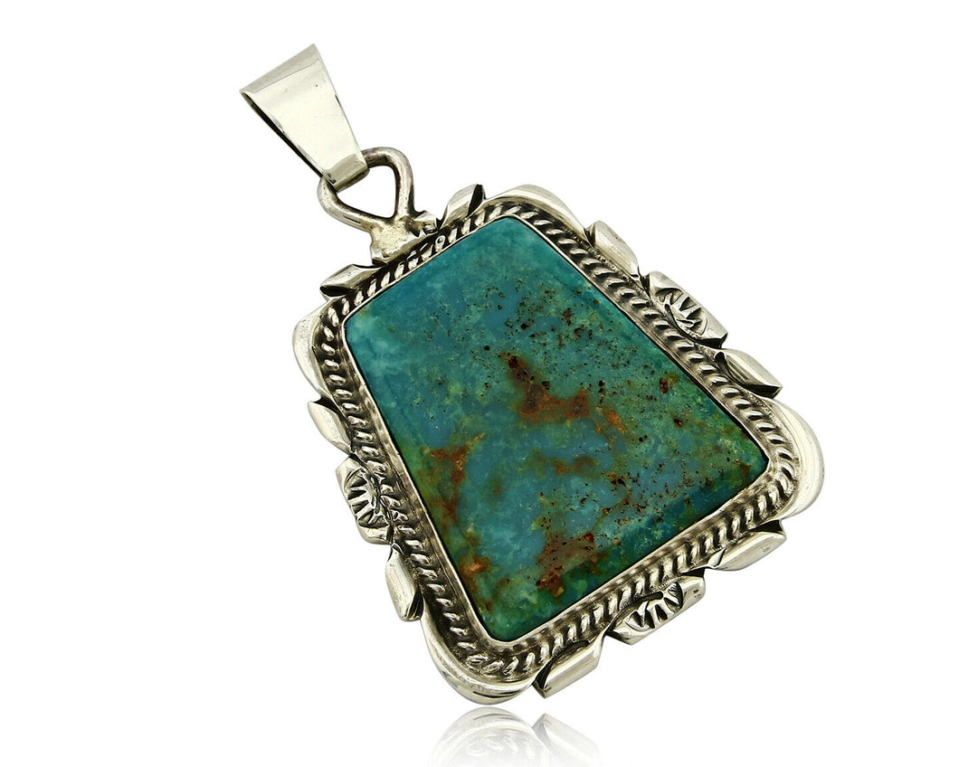 C. 1980-90's Navajo Signed TALHAT Natural Turquoise .925 Silver Pendant