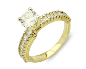 Women's Promise Ring 2.0 ct D - E VS1+ Sim Diamond in 14k SOLID Yellow Gold