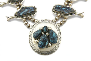 C. 1970-80's New Fred Guerro Sr. Epic Natural Turquoise .925 Silver Squash