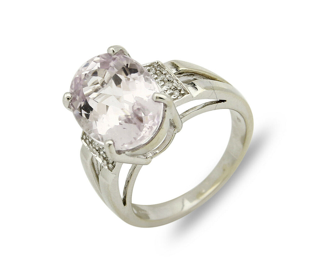 Women's Kunzite Diamond Ring 14k SOLID White Gold Cocktail 6.92 tcw