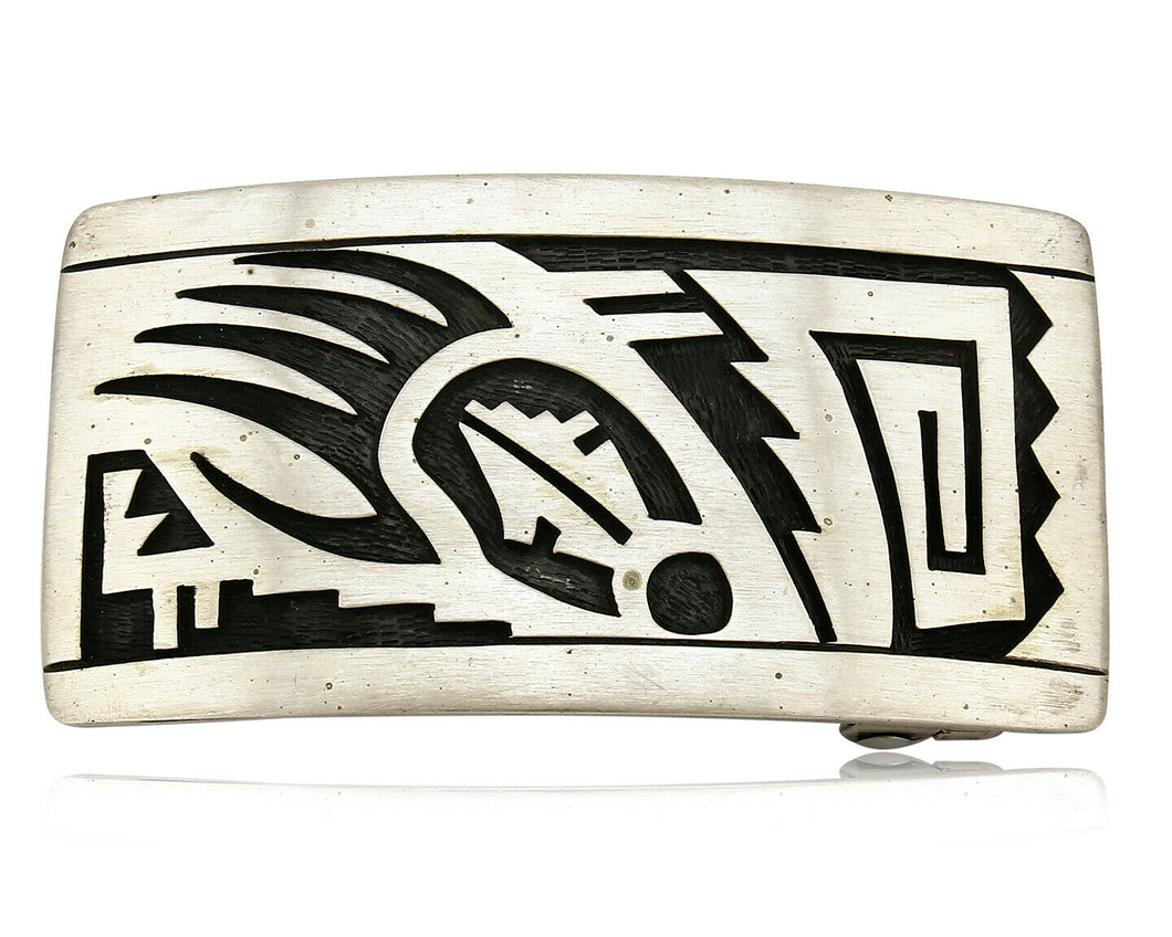 Hopi Belt Buckle .925 SOLID Sterling Silver Signed DP Overlay C.80's