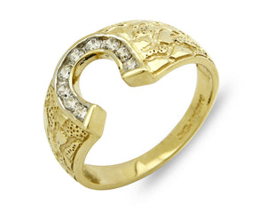 SOLID 14k Yellow Gold Horse Shoe Ring .27 tcw Simulated Diamond Ring