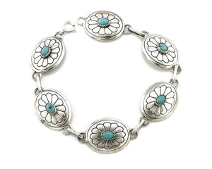 Women's Navajo Concho Bracelet .925 Silver Turquoise Native American C.80's