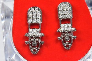 New 14k White Gold Plated Zirconia Pave Recording Microphone Stud Earrings
