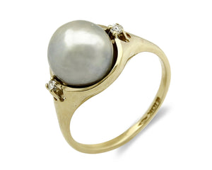 10k Pearl Diamond SOLID Yellow Gold 3 Stone Cocktail Ring Size 6.25