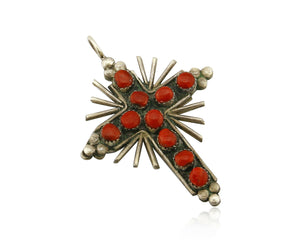 Zuni REAL Turquoise and Coral Reversible 925 Silver Handmade Cross Pendant