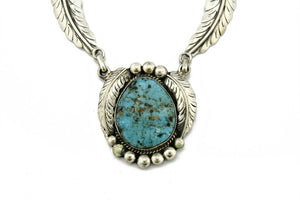 C. 1980 Navajo Montoya Natural Mined Blue Turquoise .925 Silver Necklace