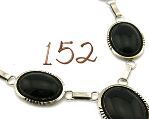 Women's Navajo Necklace Onyx .925 Silver Signed Denetdale
