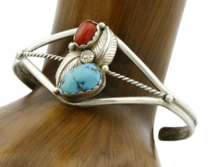 Navajo Bracelet .925 Silver Turquoise & Red Coral Cuff Signed Paul J Circa 1980s