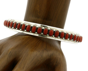 Women's LARGE Bangle Bracelet Navajo Red Coral .925 Silver Artist Livingston