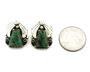 Women's Navajo Earrings .925 Silver Crescent Valley Turquoise Handmade C.80's