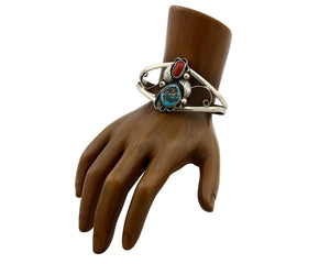 Navajo Bracelet .925 Silver Morenci Turquoise Artist Native American Circa 1975