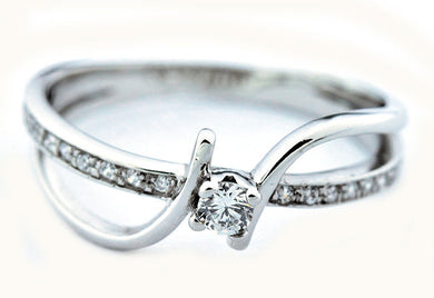 Diamond Wedding Solitaire w/ Accents Ring .25 ct Round Cut Solid 14k White Gold