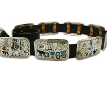 Navajo Concho Belt .925 Silver Inlaid Signed Artist Benson Boyd C.80's