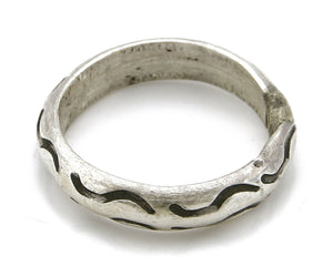 Women's Navajo Ring .925 SOLID Silver Hand Stamped Circa 1980's