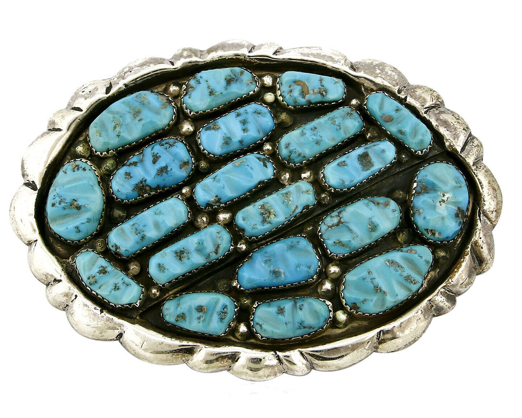 Zuni Belt Buckle .925 Silver Turquoise Signed G&L LEEKITY Sand Cast C.80's
