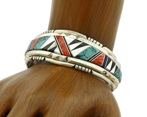 C. 1980 Navajo Artist Signed WE or ME Inlaid Gemstone .925 Silver Cuff
