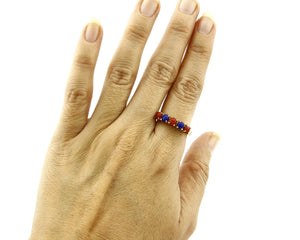 Women's Coral & Lapis Ring Brand RH & Co 5 Stone 14k SOLID Yellow Gold