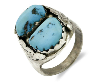 ZUNI Ring .925 SOLID Silver Sleeping Beauty Turquoise Artist Native C.1980's