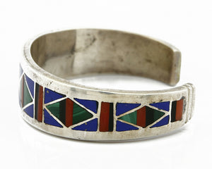 C. 1980's Zuni Inlaid Natural Gemstone .925 Silver Cuff Bracelet