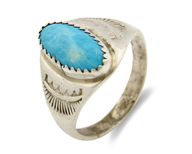Zuni Ring .925 Silver Kingman Turquoise Hand Stamped Native American C.80's