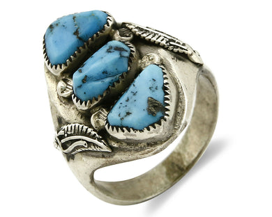 ZUNI Ring .925 SOLID Silver Sleeping Beauty Turquoise R. Lule C.1980's