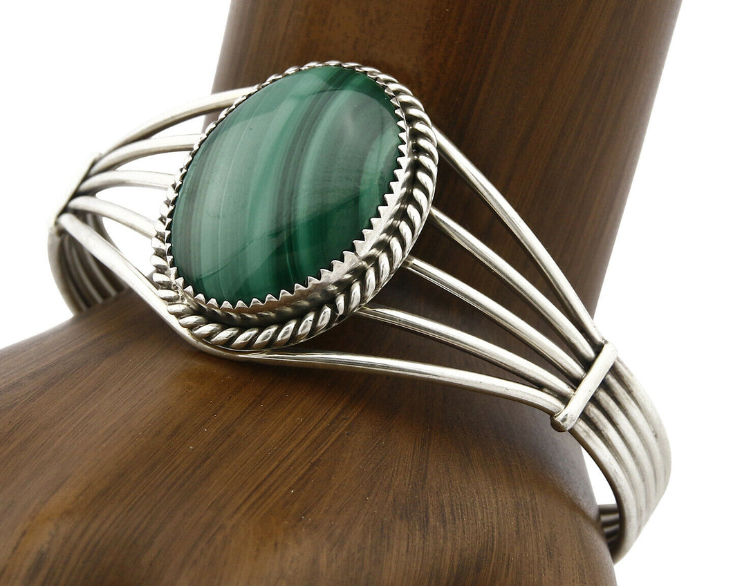 Women's Navajo Bracelet .925 Silver Natural Mined Malachite Native American C90s