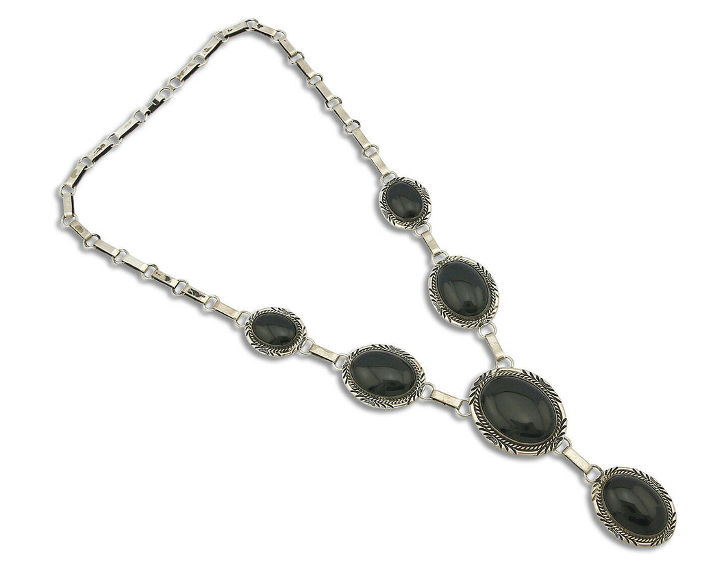 Women's Navajo Necklace .925 Silver Onyx William Denetdale Hand Stamped