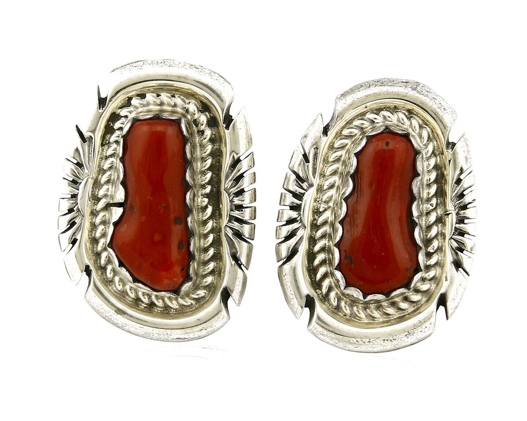 Women's Navajo Earrings .925 Silver Hand Stamped Coral Signed JM