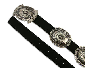 Navajo Concho Belt .925 Silver Hand Stamped Native American C.80's
