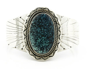 Navajo Bracelet .925 Silver Spiderweb Turquoise Artist Signed FG C.80's