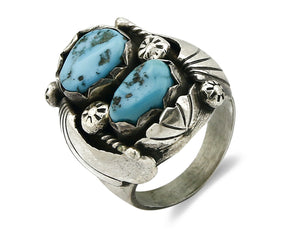 Zuni Ring .925 SOLID Silver Sleeping Beauty Turquoise Signed WD C.1980's