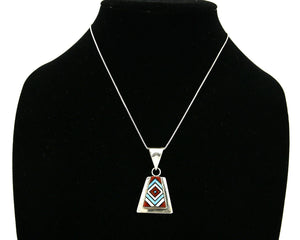 Women's Zuni Pendant .925 Silver Inlaid Signed V. Vacit