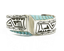 C. 1990 Navajo Signed Beonard Jim Overlay .925 SOLID Silver Turquoise Cuff