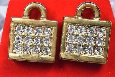 New 14k Gold Plated Hip Hop Lock Cubic Zirconia Stud Earrings