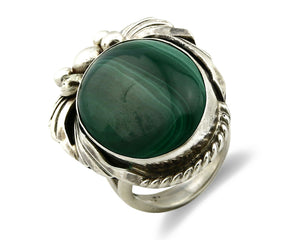 Navajo Malachite Ring .925 Silver Handmade Signed Billie Eagle C.80's