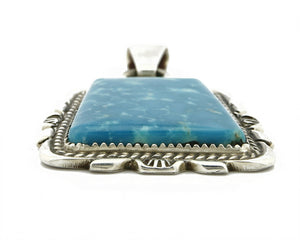 C. 1980-90's Navajo Signed TALHAT Blue Turquoise .925 Silver Pendant