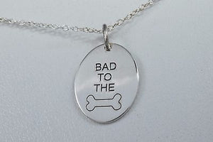 Bad to the Bone Pendant with 18 Inch Chain Both in .925 Solid Silver Necklace