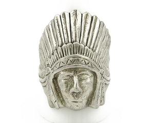 Navajo Indian War Chief Artist IT Ring .925 SOLID Sterling Silver C.80's Size 11